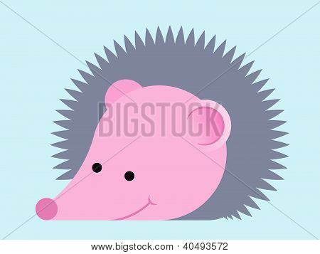 Adorable prickly cartoon hedgehog