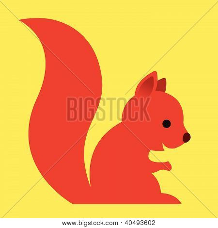 Happy little red cartoon squirrel