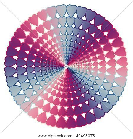 Heart Pattern Circle White Background