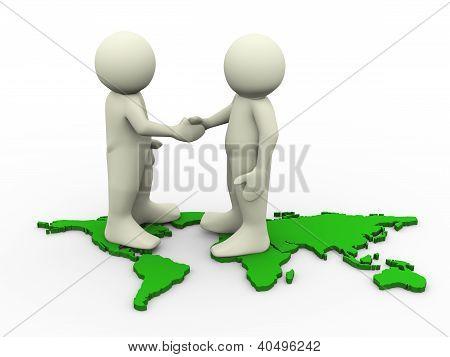3d people hand shake