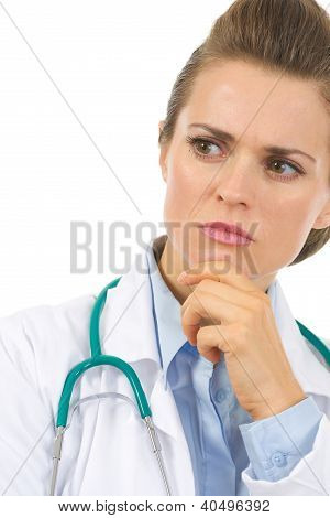 Closeup On Thoughtful Medical Doctor Woman