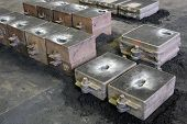 Foundry, sand molded casting, molding flasks