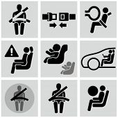 stock photo of black-belt  - Car safety belt icons - JPG