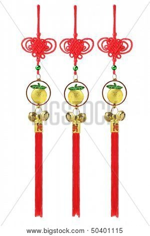 Chinese New Year Auspicious Golden Oranges Ornaments On White