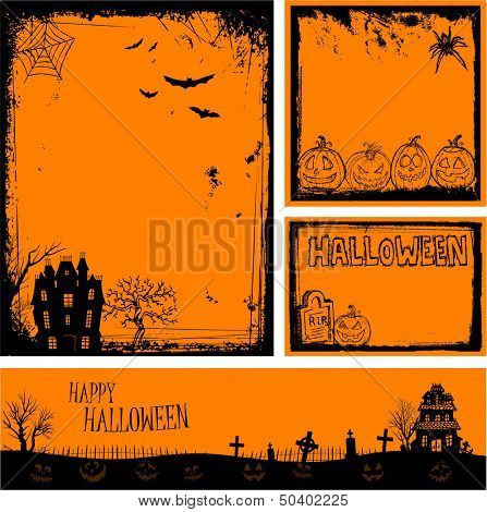 Multiple orange Halloween banners and backgrounds eps 10