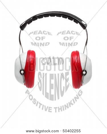 Red earmuffs with text collage on noise pollution theme.