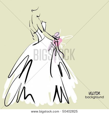 art sketch of beautiful young  bride in white dress and with the bride's bouquet.. Vector background with space for text.