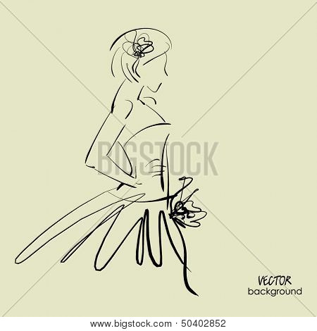 art sketch of beautiful young  bride with the bride's bouquet.. Vector background with space for text.