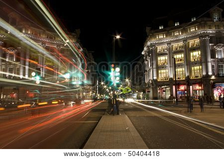 London, United Kingdom - April 19, 2013: The main crossing in Oxford Circus in London at night. With