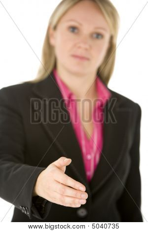 Businesswoman Holding Her Hand Out In Greeting