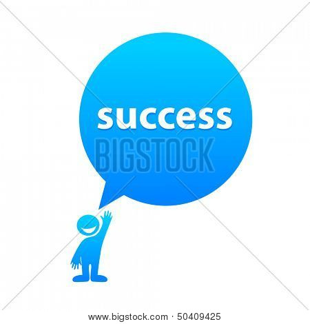 Success - the label template in speech bubble