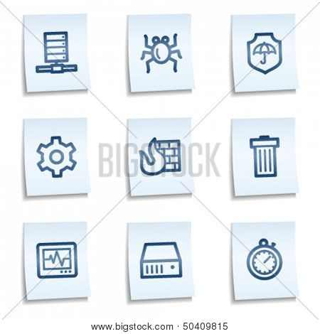 Internet security web icons, blue notes