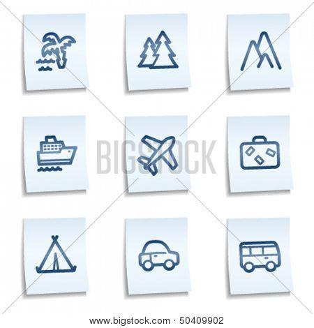 Travel web icons set 1, blue notes