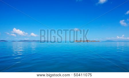 Calm sea, blue water, ocean, sky and horizon
