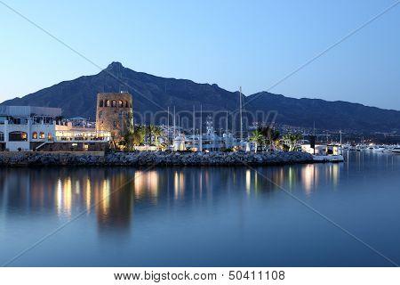 Puerto Banus At Dusk, Spain