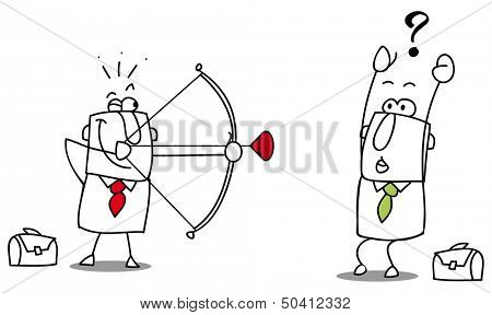 Putsch.  Drawing of a business firing his bow on other man