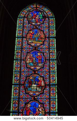 Stained glass windows of Saint Gatien cathedral in Tours France.