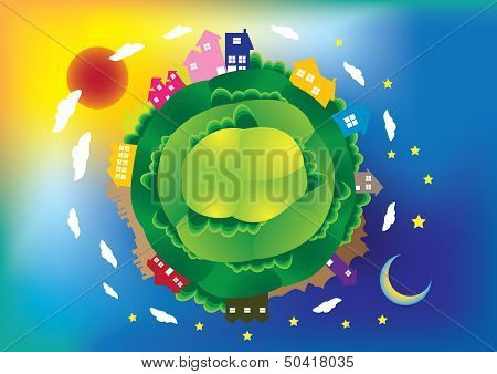 Global Scene Vector Illustration