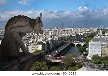 Eiffel Tower And Gargoyles