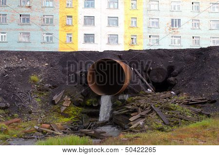 Pipe Dumping Water