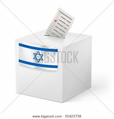 Ballot box with voicing paper. Israel.