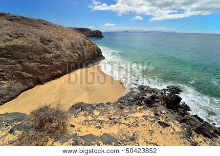 View From Cliff. Lanzarote, Canary Islands, Spain.