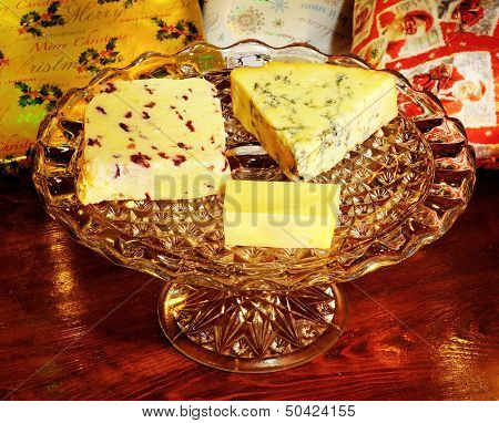 Cheese selection on plate.