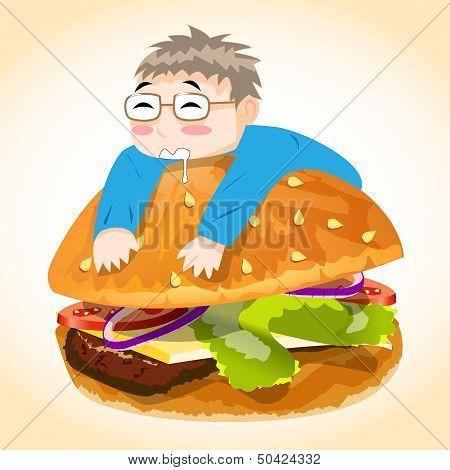 Man on Burger Vector Character