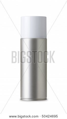 Blank aluminum spray can isolated on white background