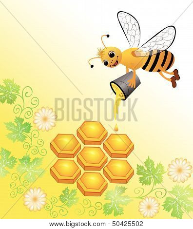 Bee Honey In The Honeycomb Pours A Bucket Of
