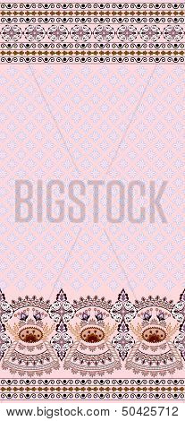 Vintage pink card finely patterned and wide border