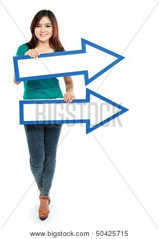 Portrait Of Asian Woman With Directory  Arrows