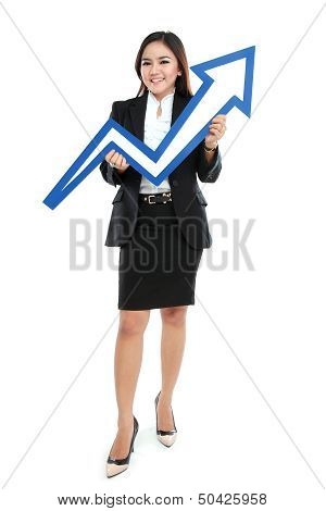 Portrait Of Full Lenght Beautiful Woman Holding Chart Arrow Sign