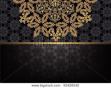 rectangular frame with  pattern and a golden flower