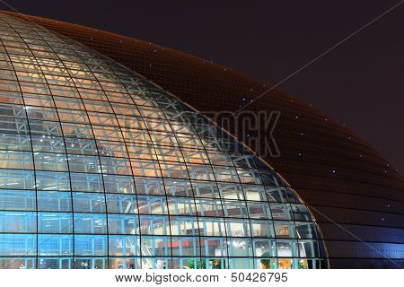BEIJING, CHINA - APR 3: National Centre for the Performing Arts NCPA at night on April 3, 2013 in Beijing, China. Cost 2.8B CNY, it seats 5,452 people. The first performance was held in December 2007