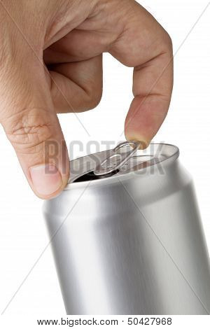 a hand opening soda or beer pull tab can.