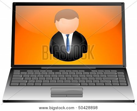 Laptop with user icon