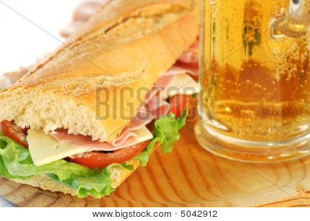 Baguette Sandwich Closeup With Beer