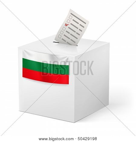 Ballot box with voicing paper. Bulgaria.
