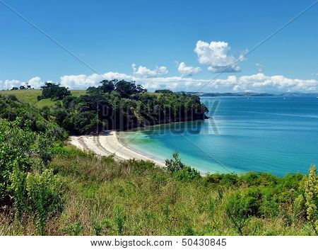 Sheltered Beach Surrounded By Hills And Trees