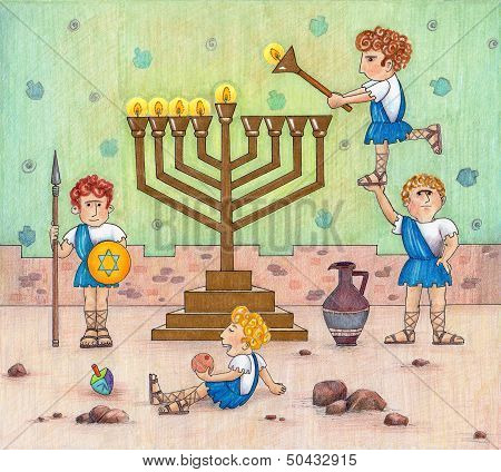 Hanukkah Menorah lighting.