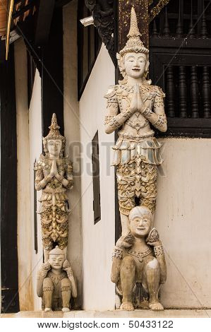 Thai Angel As Old Ubosot In Wat Buak Krok Luang , Chiangmai Thailand
