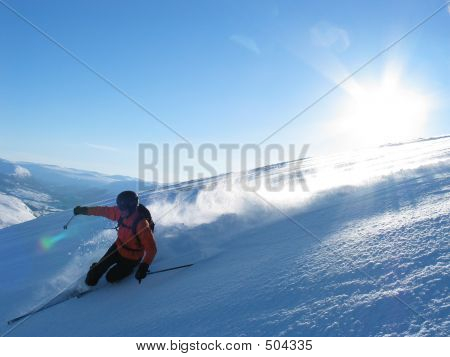 Fast Skier In Powder