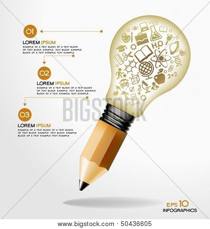 creative splash pencil and bulb with school icons set illustration. concept learning. the study of science. his work - eps10 vector file, contain transparent elements and mesh gradients