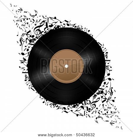 Vinyl disc with music notes.