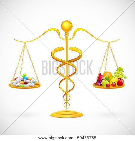 illustration of caduceus beam balance with medicine and fruit