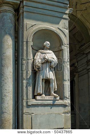 Statue Of Pier Capponi In Galeria Degli Uffizi. Florence, Italy