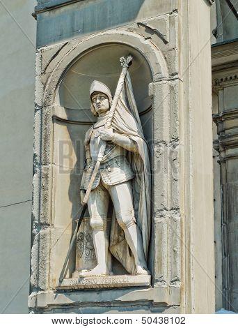 Statue Of Francesco Ferruccio In Galeria Degli Uffizi. Florence, Italy