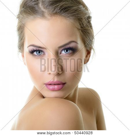 Beauty portrait of young woman with beautiful healthy face with nice makeup looking at camera, studio shot of attractive girl over on white background