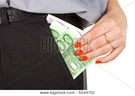 Woman Take Out Money From The Pocket